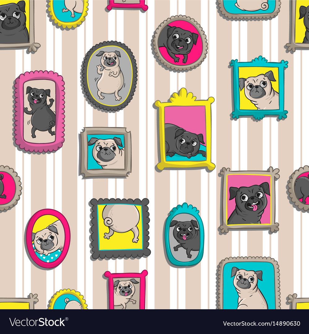 Frames with portraits of pugs seamless pattern