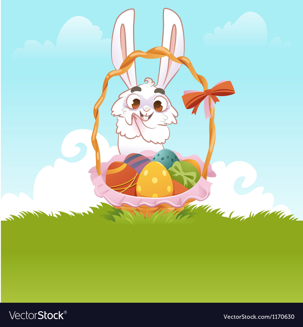 Greeting Card Bunny With Easter Eggs