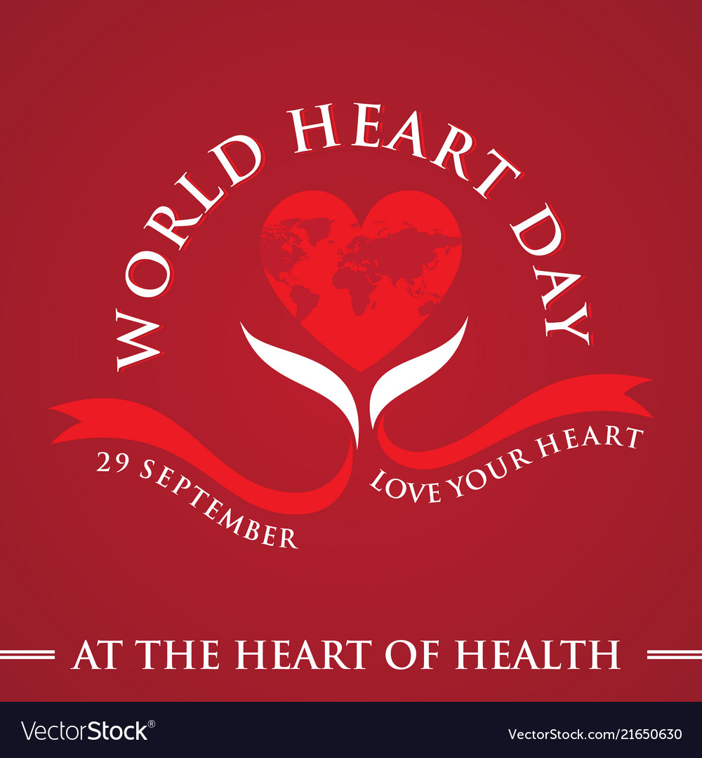 Greeting Card World Heart Day Celebration Vector Image