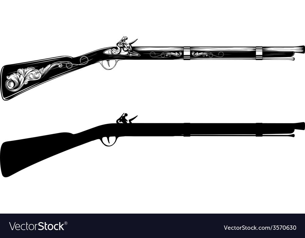 Old flintlock rifle vector image