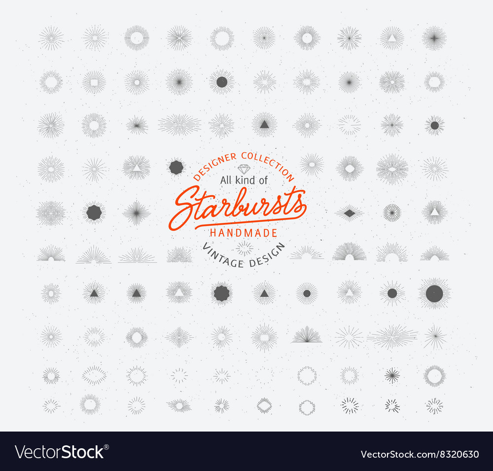 Retro sunburst bursting rays design elements