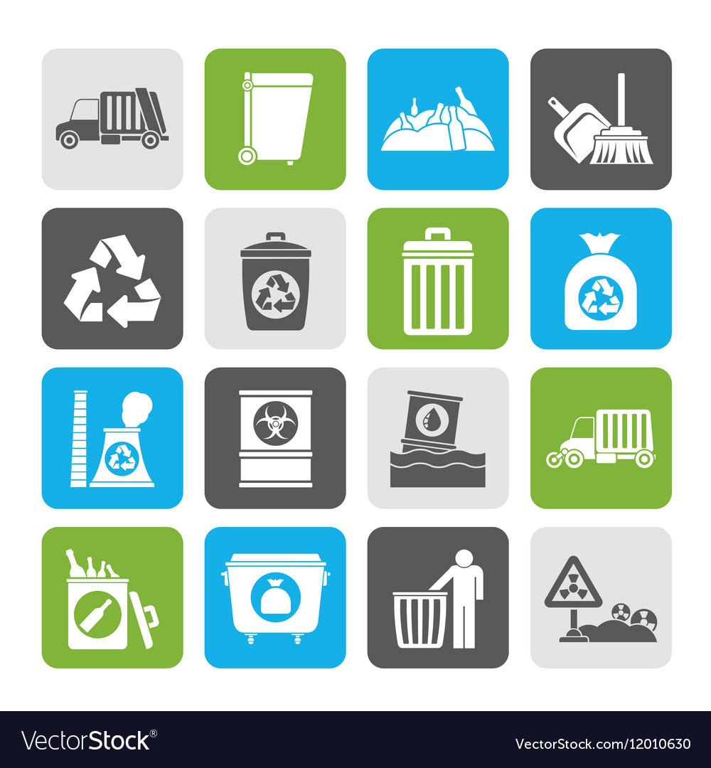 Silhouette Garbage cleaning and rubbish icons vector image