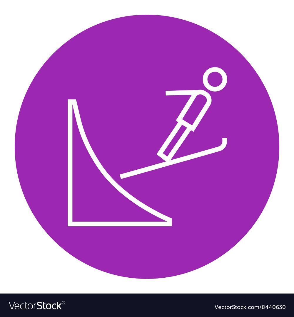 Ski jumping line icon