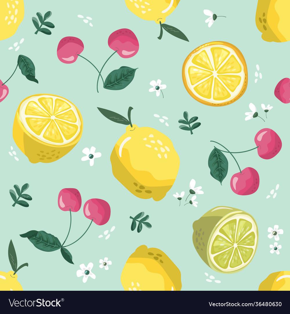 Summer seamless pattern with lemons cherry