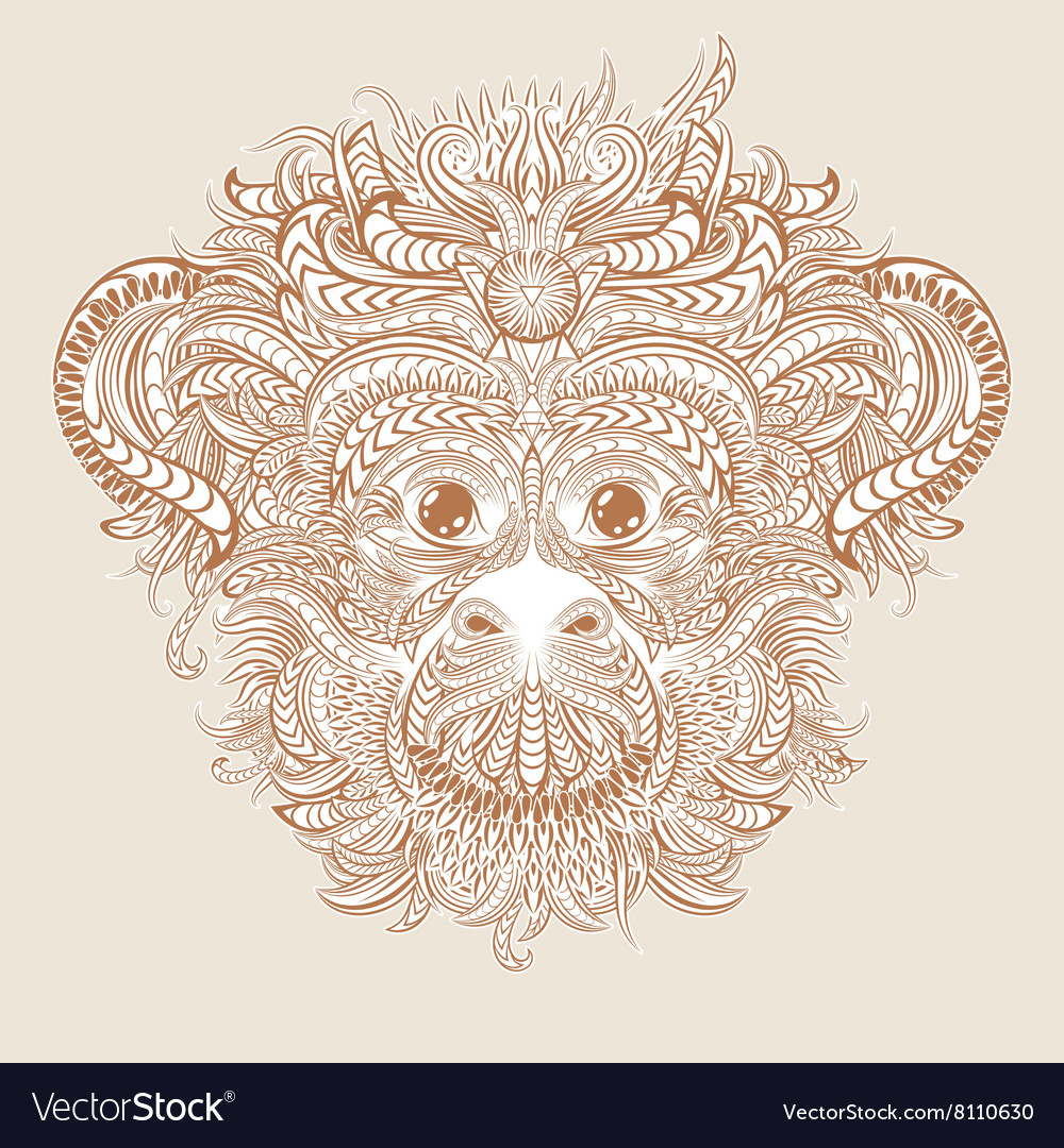 Tattoo design head of the monkey