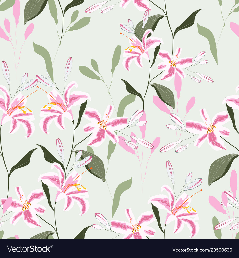 Trendy floral pattern with pink lilies flowers