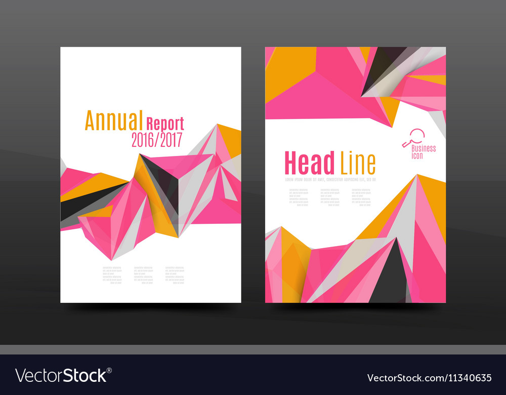 3d triangle shapes Business annual report cover vector image