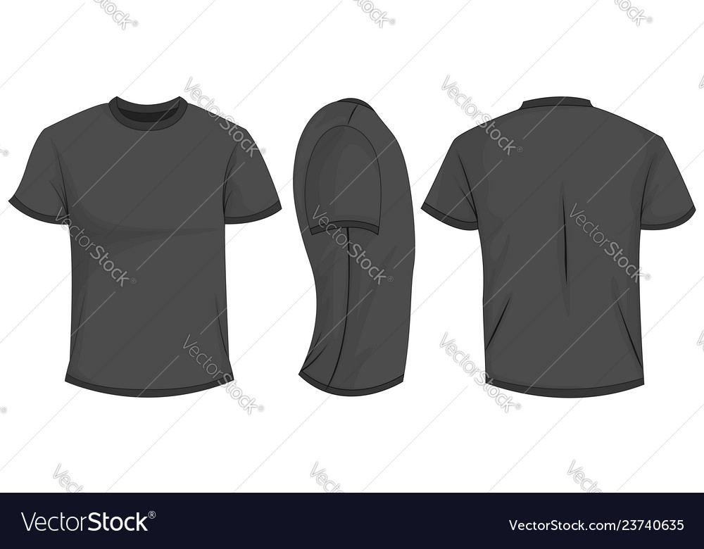 Black T Shirt Template In Front Side And Back Vector Image
