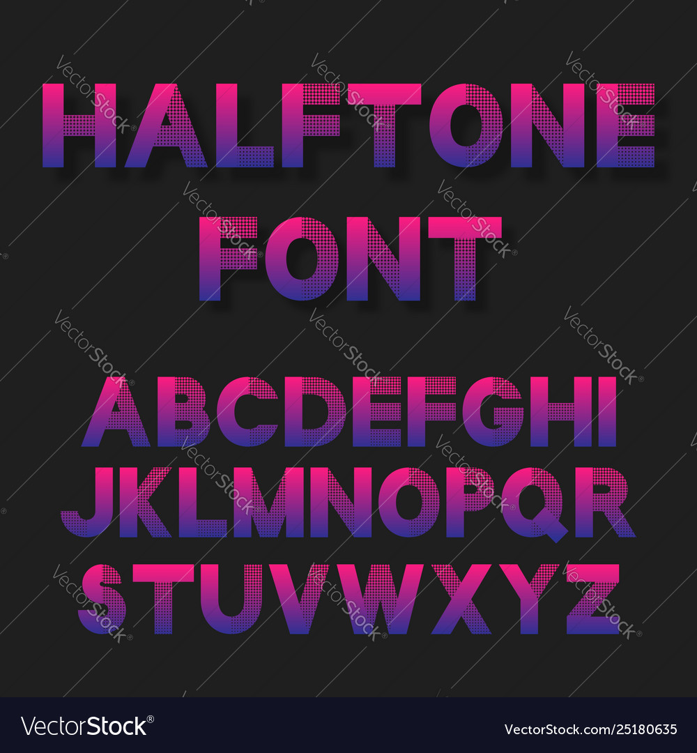 Bright color dotted halftoned font