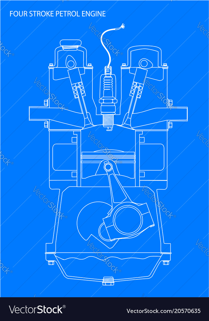 Engine line drawing blueprint Royalty Free Vector Image