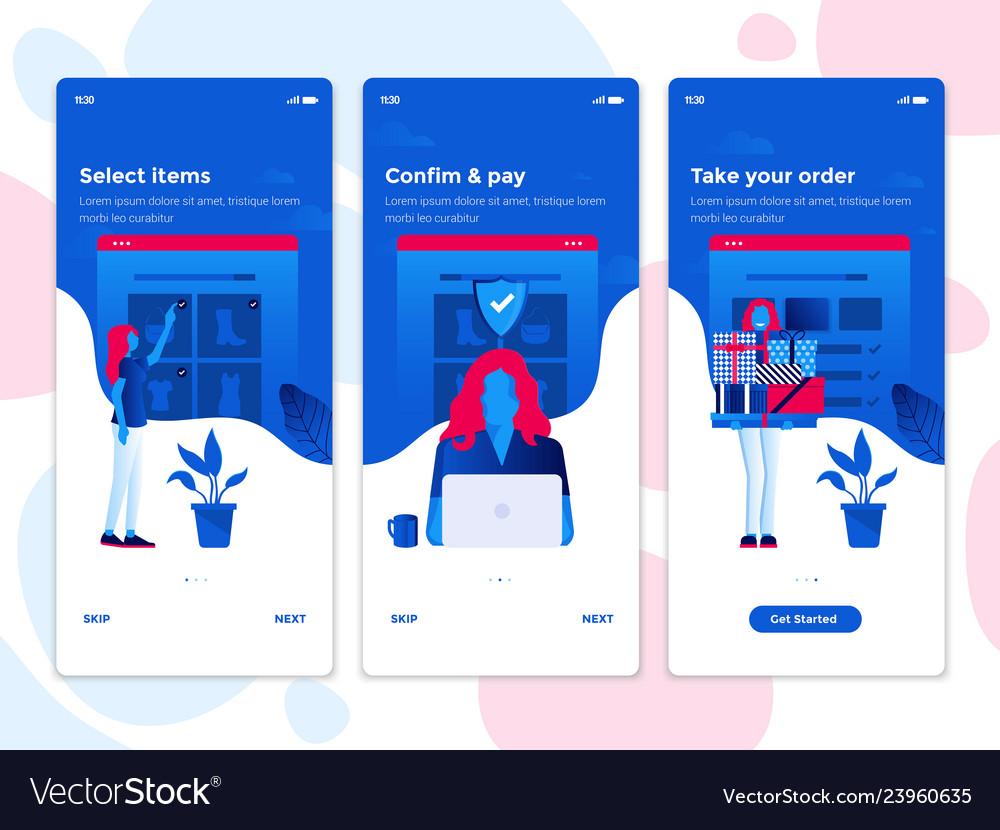 Flat design oneboarding concepts - e-commerce app