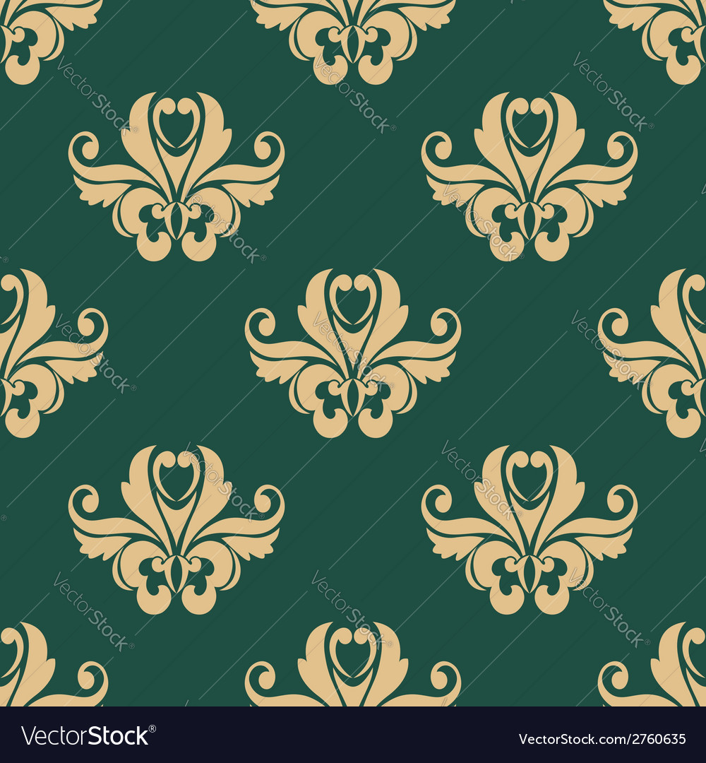 Floral seamless pattern with beige on dark green