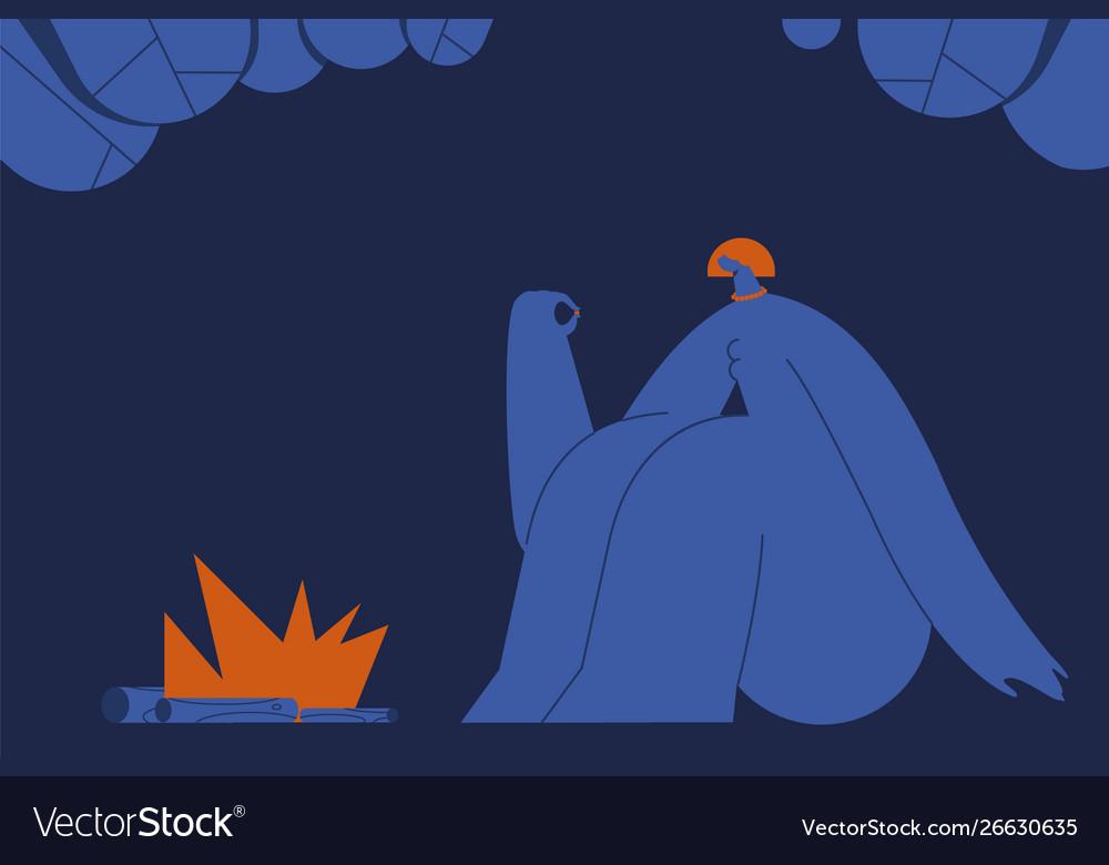 Girl near fire on modern background
