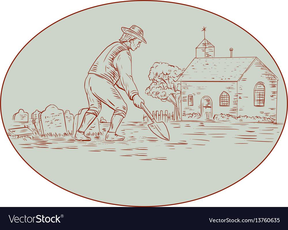 Medieval grave digger shovel oval drawing