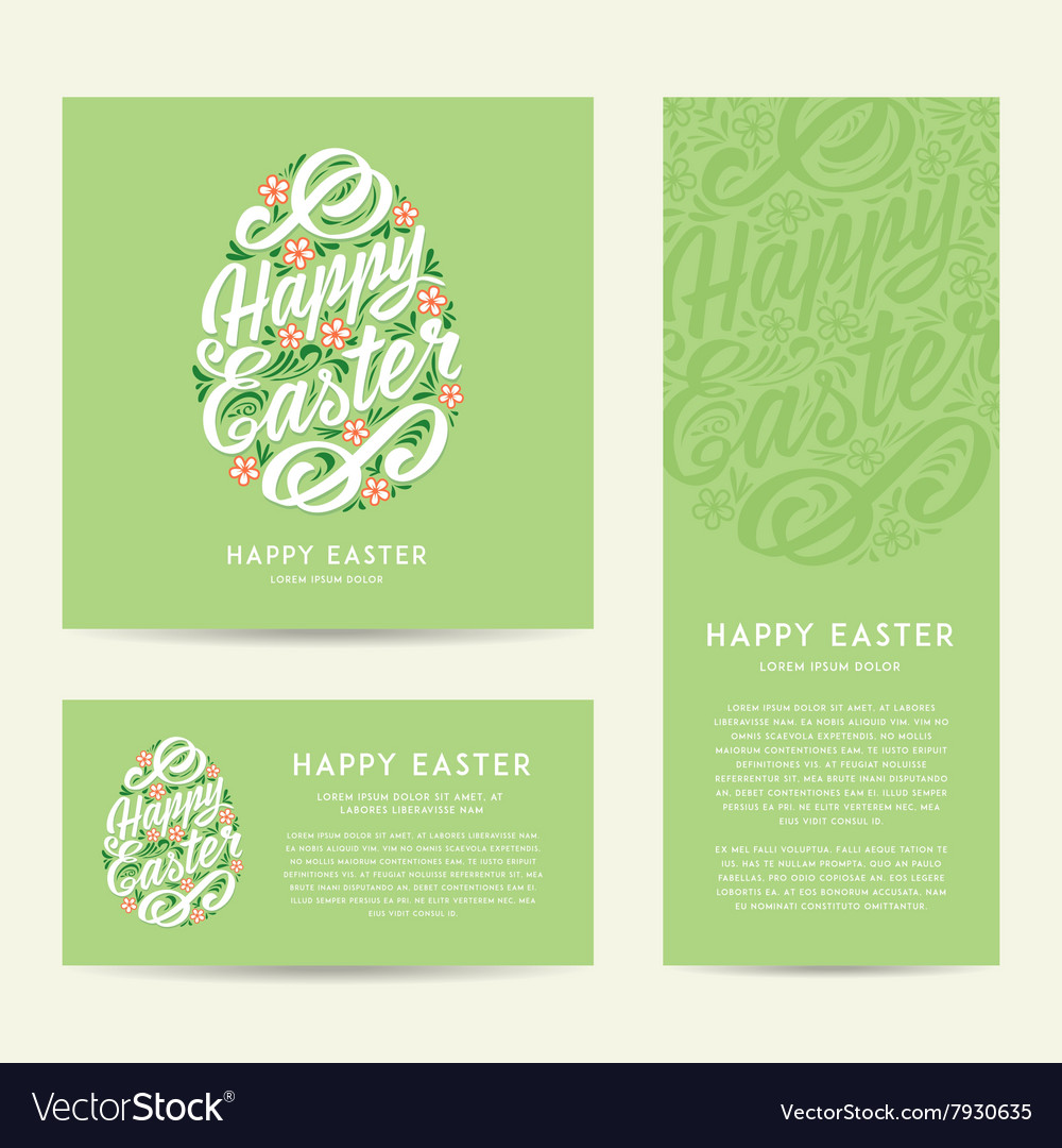 Set Of Happy Easter Greeting Cards Hand Drawing Vector Image