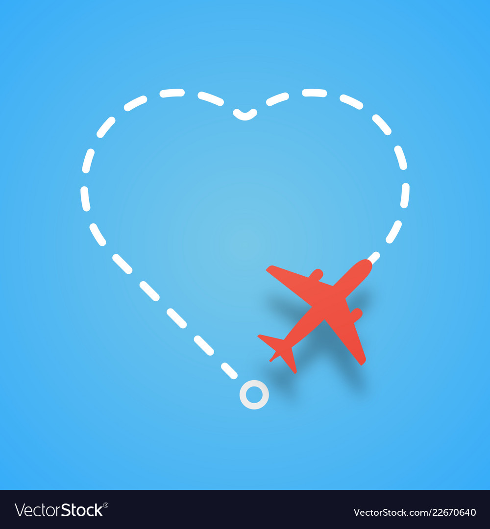 Airplane flying with dashed route like a heart