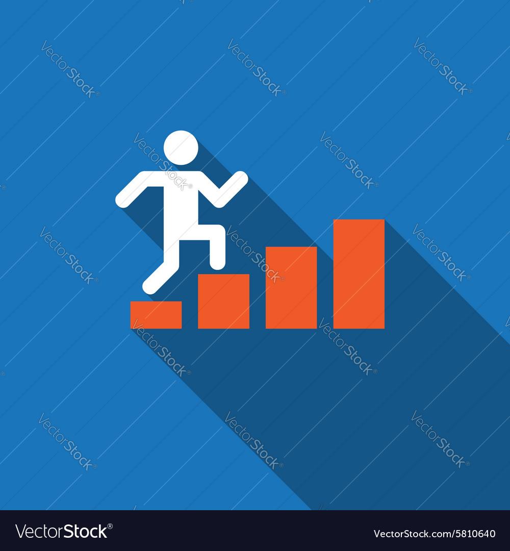 Businessman rises up on business diagram