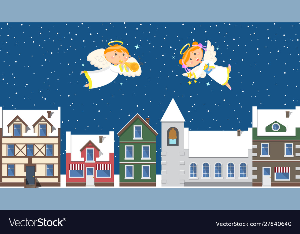 Christmas angels above town in sky winter holiday