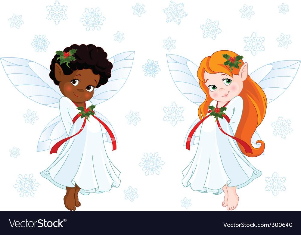 Christmas fairies vector image