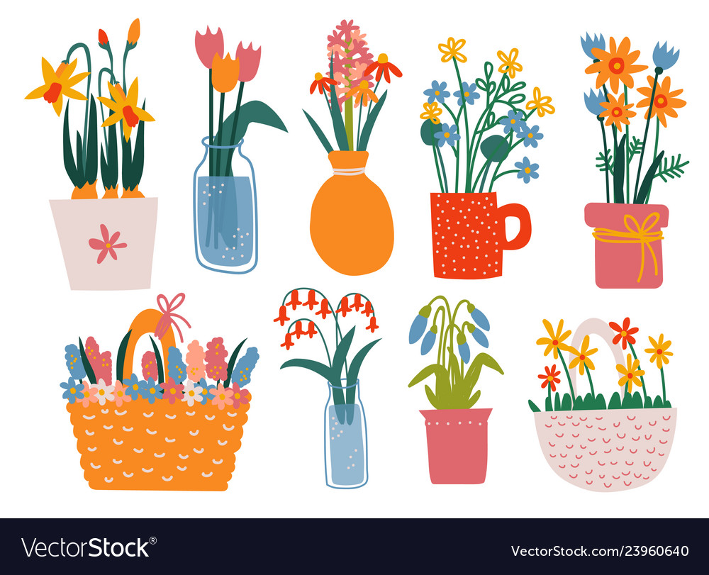 sc 1 st  VectorStock & Colorful spring flowers in vases set bouquets in Vector Image
