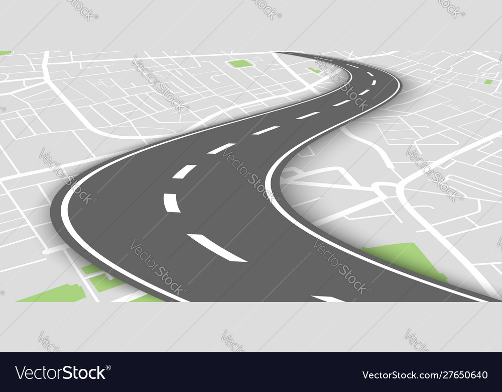 Curved perspective road above city map