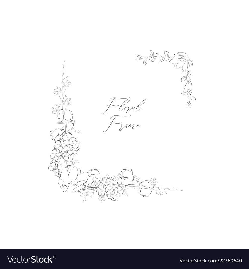 Delicate floristic frame with flowers