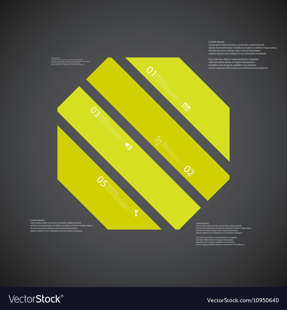 octagon template consists of four green parts on vector image