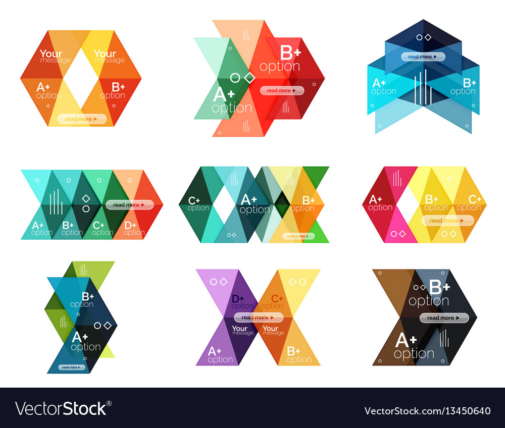 Set of color abstract arrow option infographic