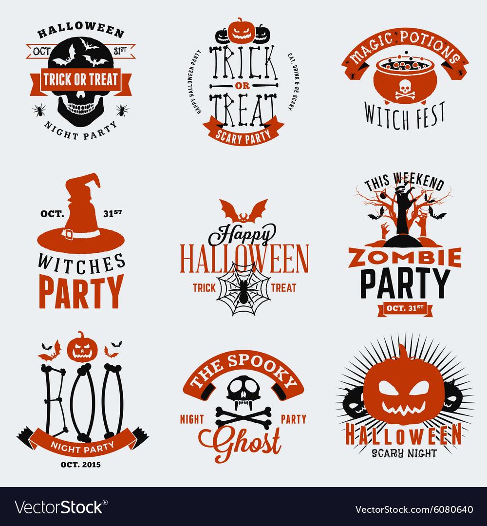 Retro Vintage Halloween Clip Art.Set Of Retro Vintage Halloween Badges Labels