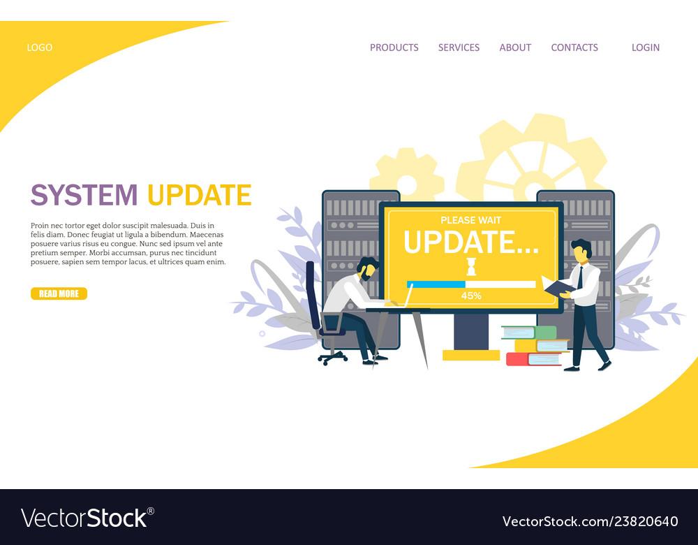 System update website landing page design