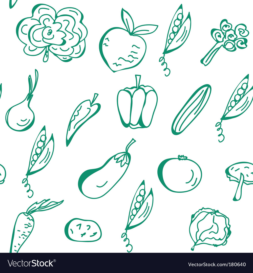 Vegetables hand drawn seamless pattern