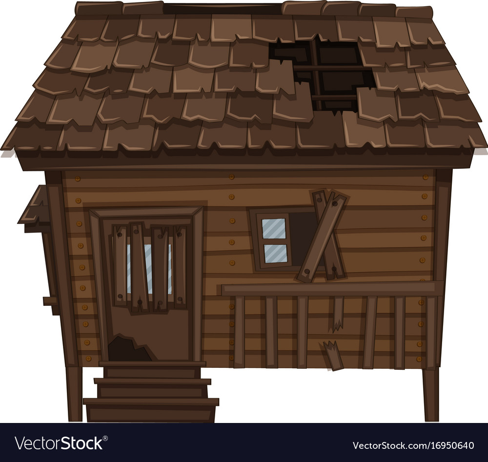 Wooden house with ruined condition