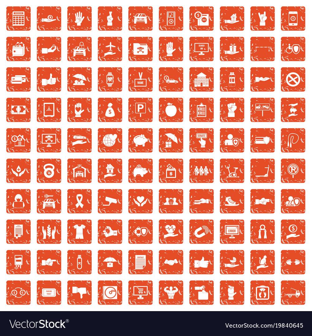 100 hand icons set grunge orange