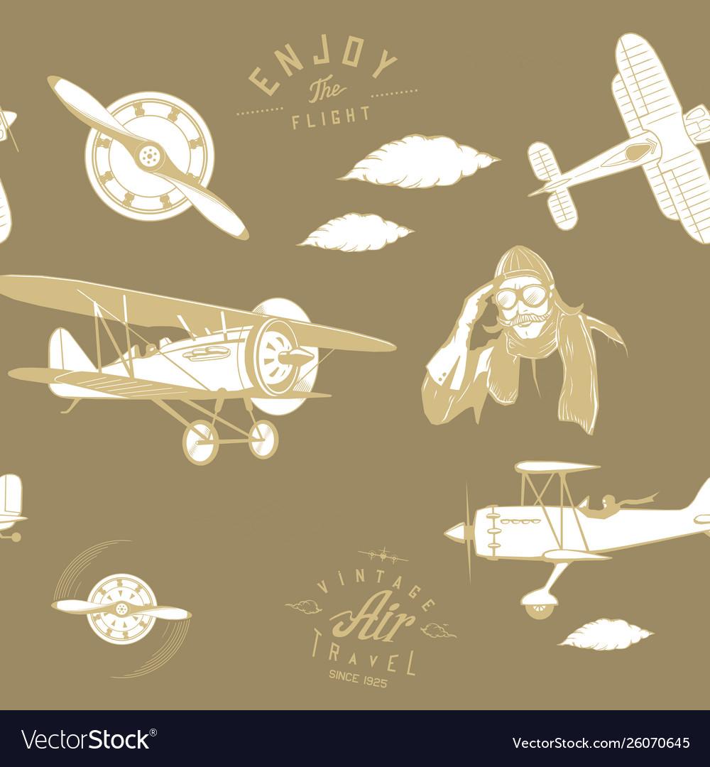Aviation pattern brown seamless monogram retro