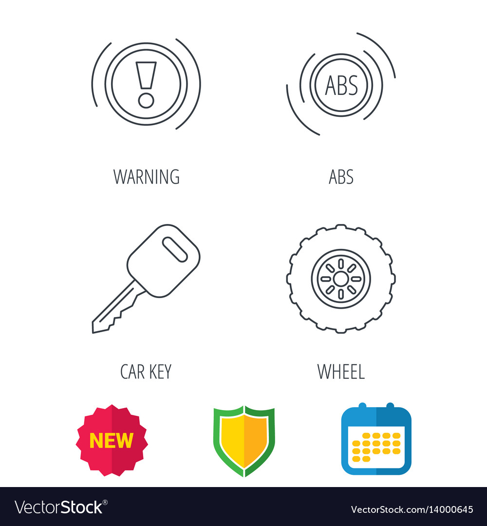 Car Key Abs And Wheel Icons Royalty Free Vector Image