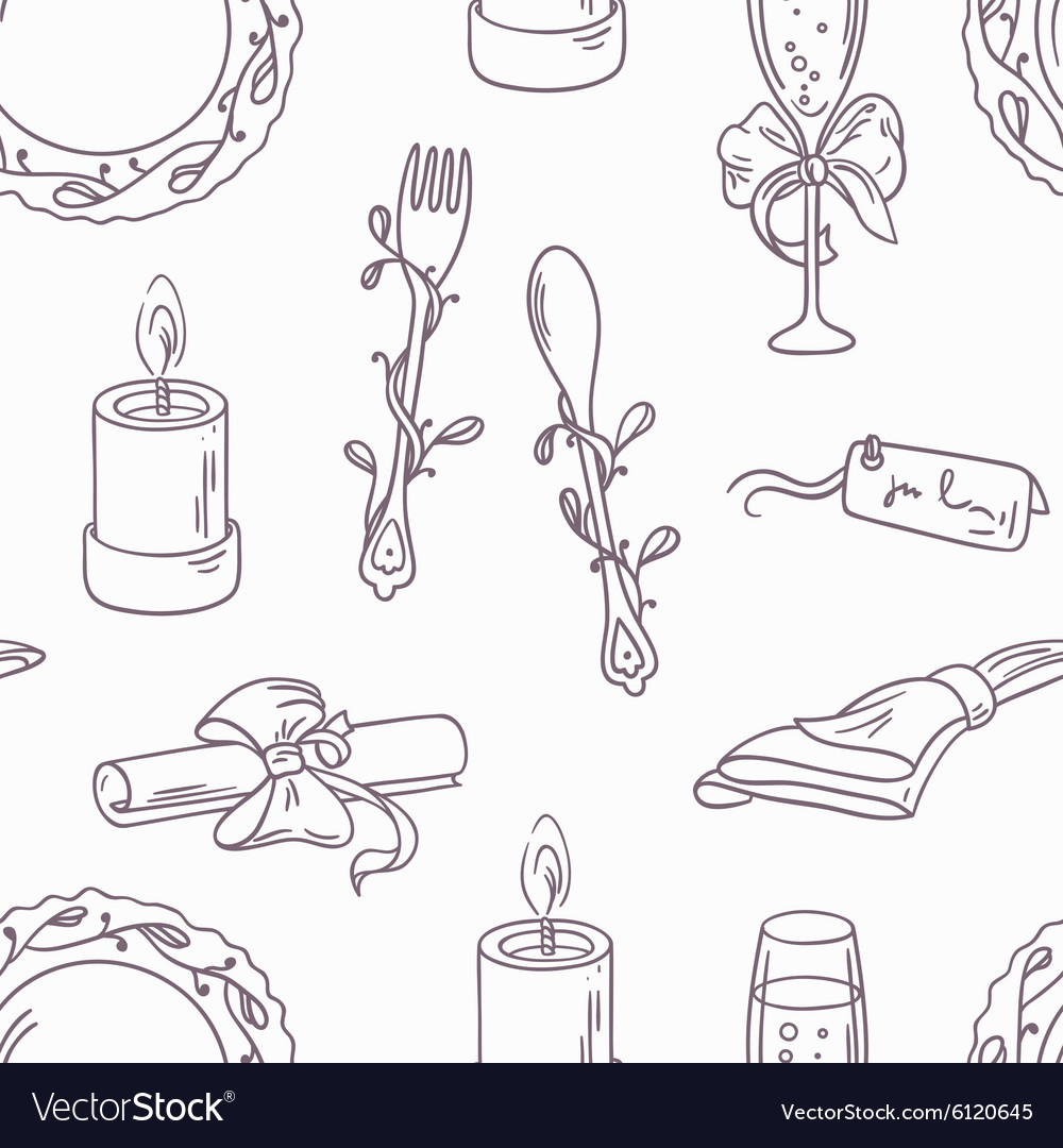 Doodle wedding table decoration seamless pattern
