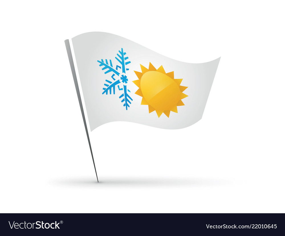 Flag snowflake and sun hot cold symbol