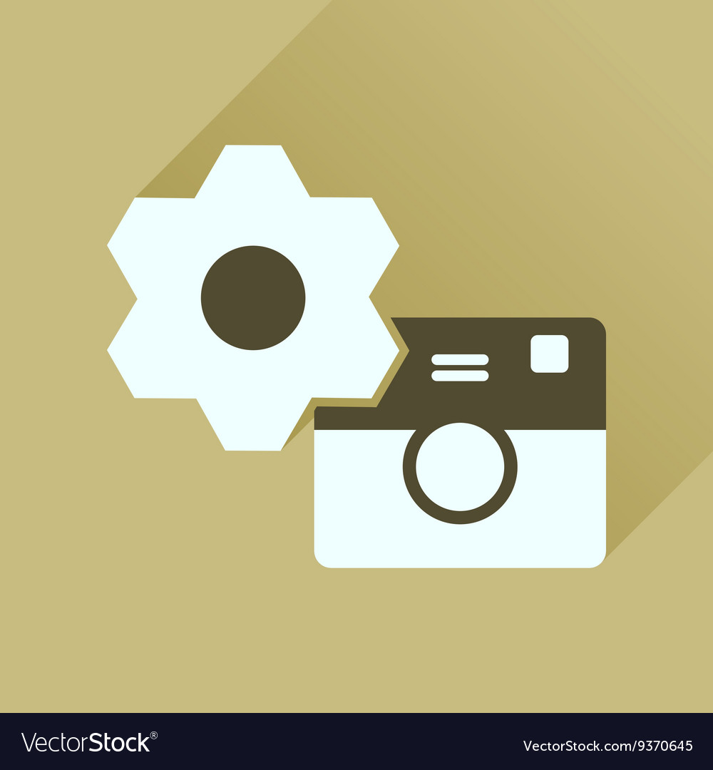 Flat icon with long shadow camera settings