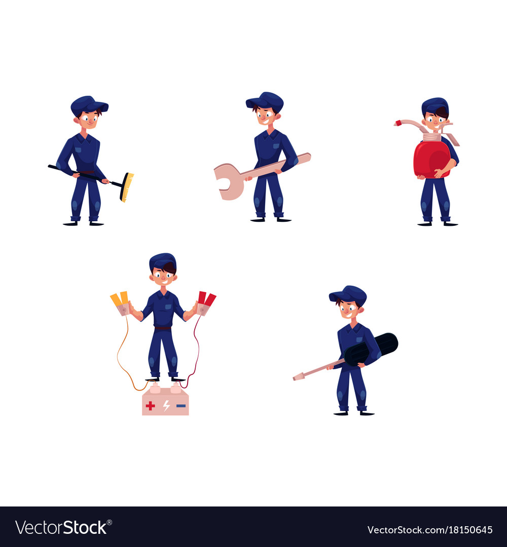 Flat young mechanic boy set vector image