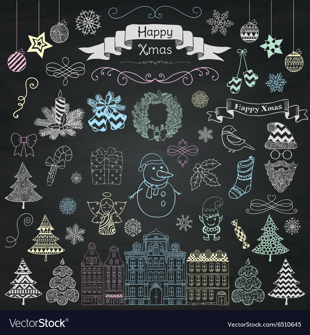 Hand Drawn Artistic Christmas Doodle Icons on