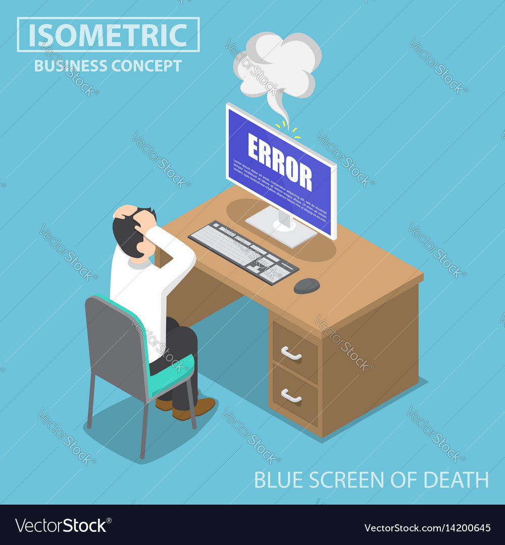 Isometric businessman having problems when his vector image
