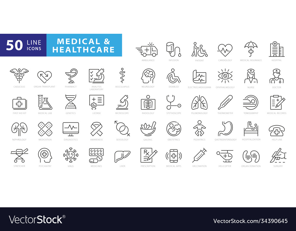Medicine and health symbols - minimal thin line