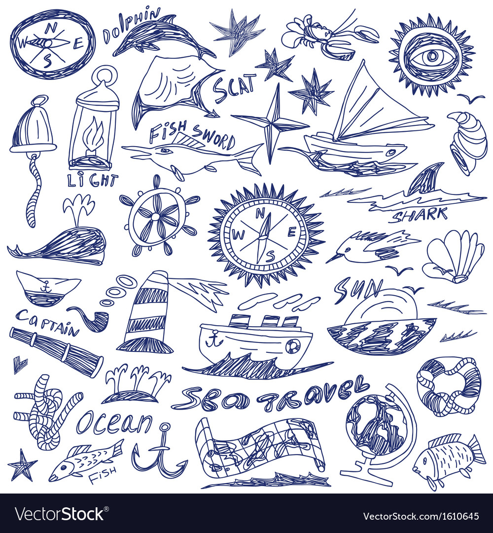 Sea travel - doodles vector image