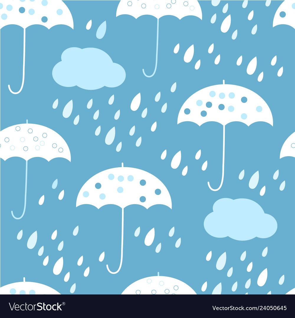 Seamless pattern with clouds umbrella and