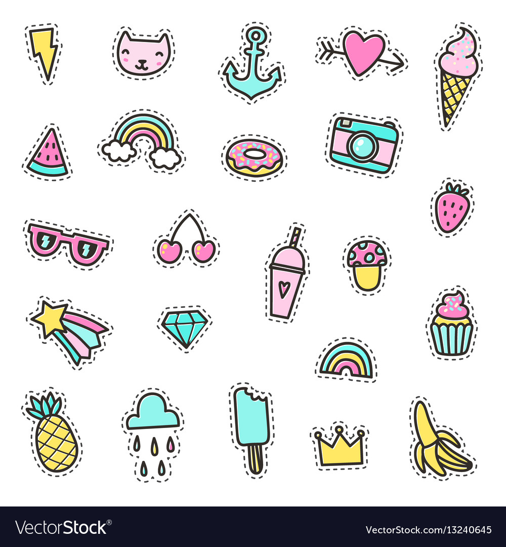 Set cute pins stickers objects
