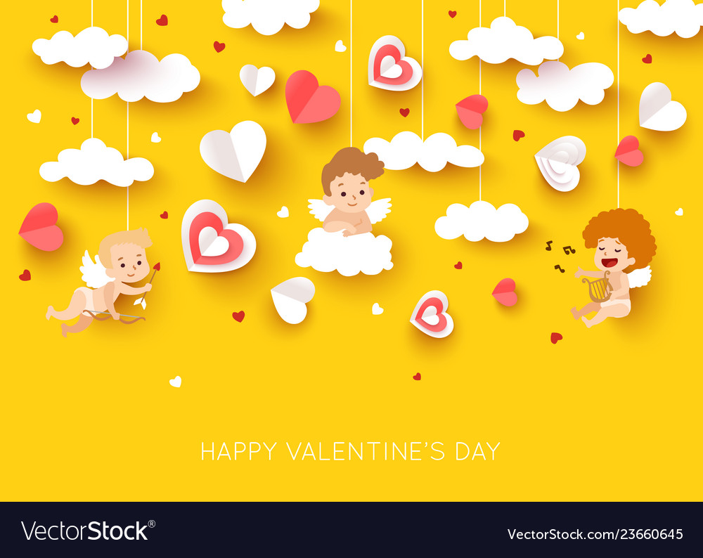Valentine day greeting card with cut paper cupid