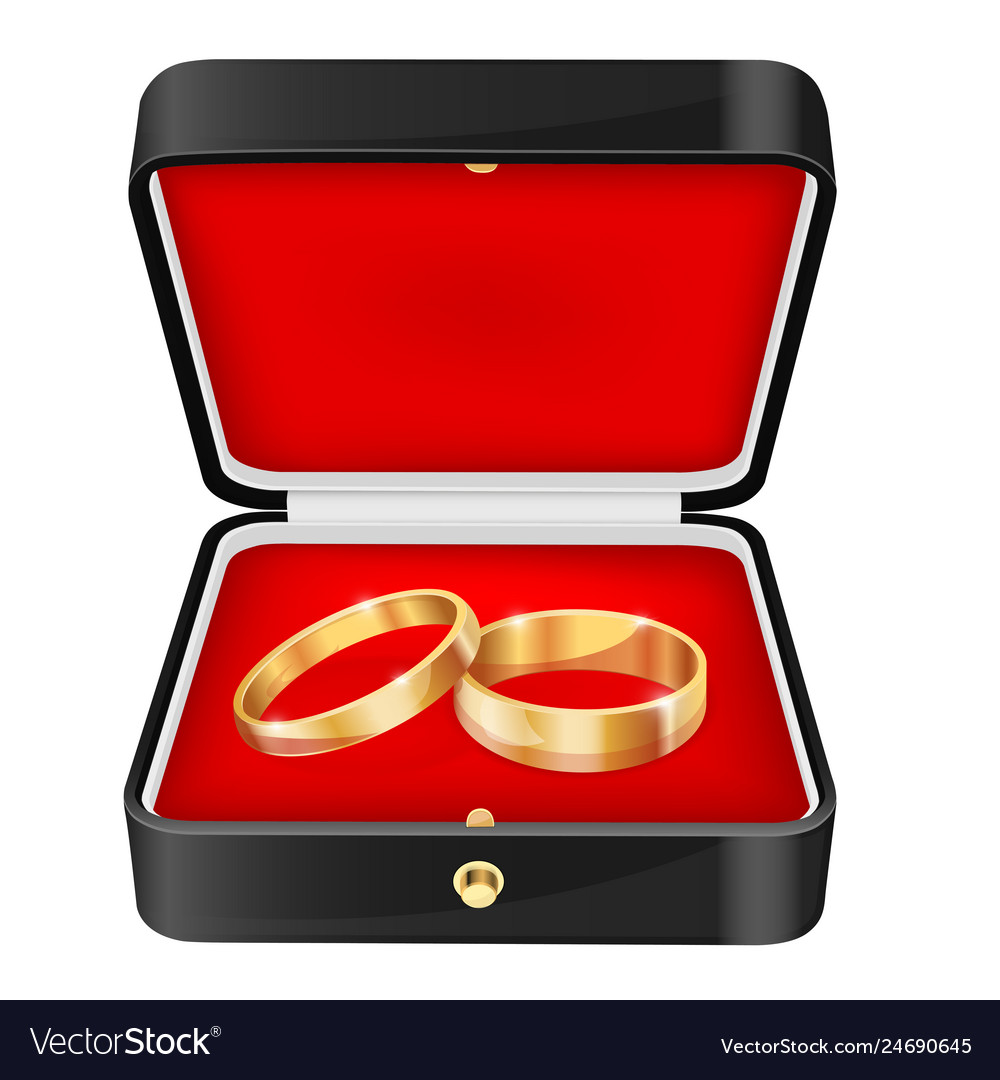 499ed4681 Wedding rings in a black jewelry box Royalty Free Vector