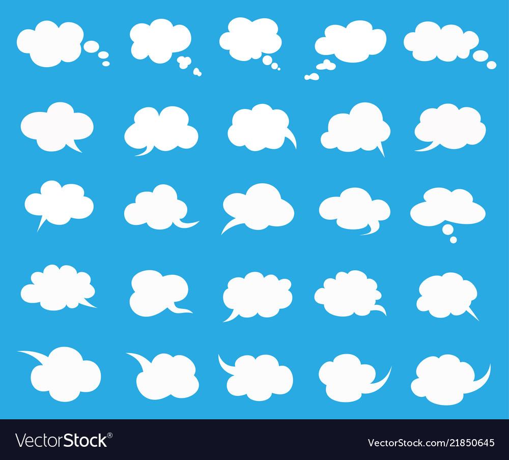 White clouds speak bubbles set on blue background