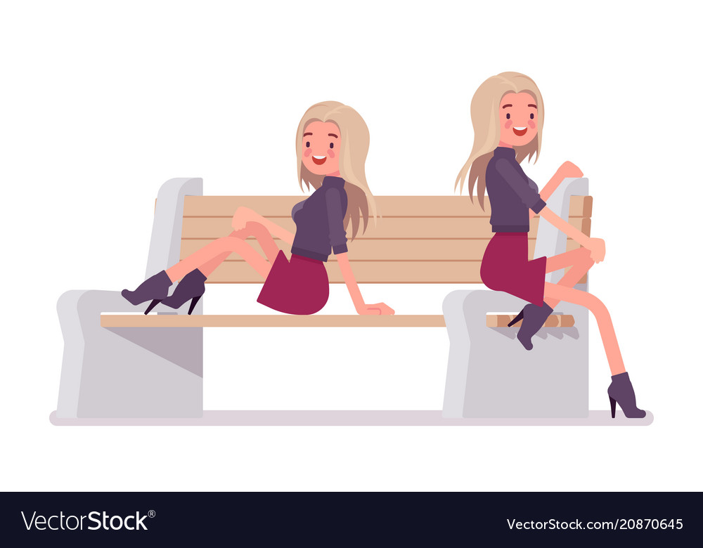 Young woman posing on bench vector image