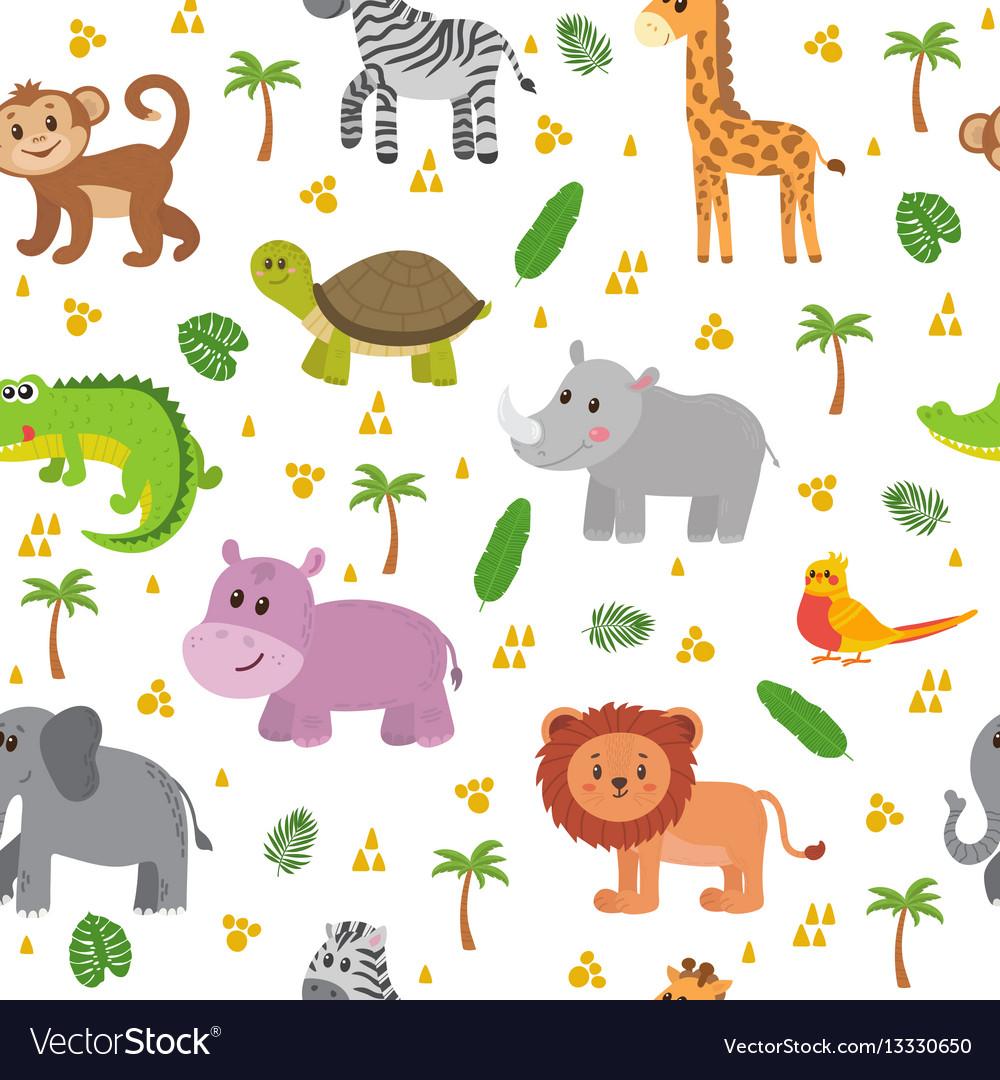 African animals seamless pattern cute cartoon